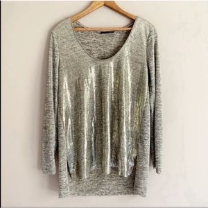Zara Gold Shimmery Long Sleeve High-Low Blouse